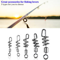 50Pcs Fishing Rolling Barrel Swivel W/ Snap Solid Ring Connector Fishing Hook