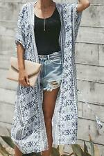 Black & White with Teal Boho Print Belted Kimono Jacket Cover Up Top O/S 6-14