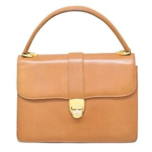 GUCCI Vintage Leather Top Handle Flap Hand Bag  Beige Gold