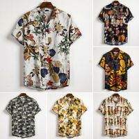 Men's Linen Short Sleeve Shirt Summer Floral Loose Casual T-Shirts Blouse Tops