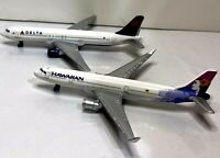 """Pair Of 2 Real Toy Replica Airplanes Delta & Hawaiian Airlines Measures About 6"""""""