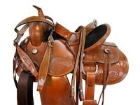 COMFY TRAIL WESTERN SADDLE 15 16 17 18 FLORAL TOOLED LEATHER HORSE PLEASURE TACK