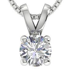 2.00CT Round Brilliant Solitaire Diamond 14K White Gold Finish Necklace W/Chain