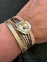 "Multi Strand Womens Flexible Cuff Bracelet Circle Pink Magnet Clasp 7"" Cuff NEW"
