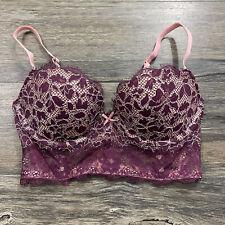 Victoria's Secret Dream Angels Padded Demi Bra Burgundy Lace Sz 32D