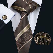 Marrone Oro Paisley Strisce Seta Set Cravatta, Fazzoletto Bottoni matrimonio k428