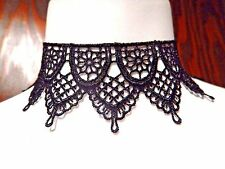 CATHEDRAL LACE POINTED COLLAR ornate black choker gothic necklace crochet #U2