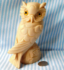 Heavy owl ornament from Italy vintage bird figurine resin sculpture 7 inch tall