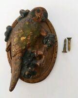 Original Antique Hand Painted PARROT BIRD Cast Iron Door Knocker