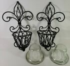 """Set of 2 Large Candle Wall Sconces Gothic Black Painted Cast Iron 17"""" x 9.5"""""""