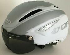 Giro Air Attack Shield Helmet White / Silver  Roc Loc w/ Eye Shield, Size: MED