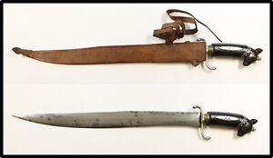 Vintage Philippines bolo knife carved horn handle horse pommel Moro kris barong