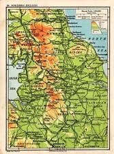 Northern England 1938 Original Antique Map