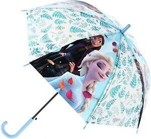 "Frozen II Classic Transparent Stick Umbrella Sunshade 18"" Girls Kids Gift 3+Y"