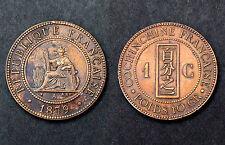 1 Centime 1879 A Cochinchine française. Patine Bleu Médaillée. Cote FDC: 90€