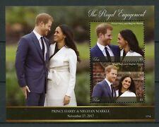 Palau 2017 MNH Prince Harry & Meghan Royal Engagement 2v S/S Royalty Stamps