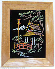 "MID-CENTURY FRAMED VELVET ASIAN SCENE PAINT BY NUMBER PAINTING  9"" x 11 3/4"" A2"