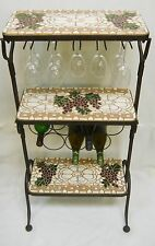 3-Tier Wine Bottle / Stemware Rack Handmade Ceramic Tile Mosaic Self Standing
