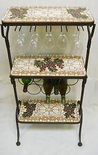 3-Tier Wine Bottle / Stemware Rack Handmade Ceramic Tile Mosaic Self Standing