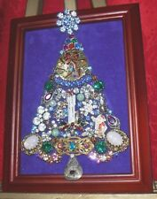 Vintage Jewelry Christmas Tree, framed and signed