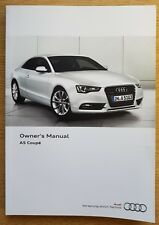 AUDI A5 S5 COUPE AND SPORTBACK HANDBOOK OWNERS MANUAL 2011-2016 MAIN BOOK C-433
