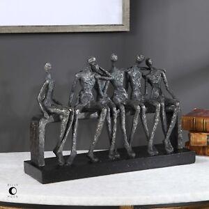 """DESIGNER MODERN ART 15"""" TEXTURED AGED FINISH ART FRIENDS BENCH SCULPTURE STATUE"""