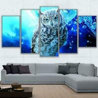 Blue Owl Bird Abstract Animal 5 pcs HD Art Poster Wall Home Decor Canvas Print