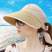 Summer Elegance Women foldaway sun hat visor golf beach straw cap wide brim hat