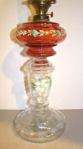 Antique Victorian Hand Painted Cranberry & Clear Glass Oil Lamp