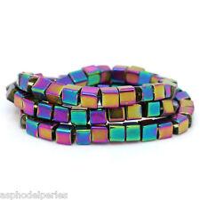 30 perles cube en verre irisé multicolore 4 x 4 mm