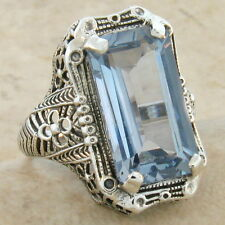 8 CARAT SIM AQUAMARINE .925 STERLING SILVER ANTIQUE STYLE RING SIZE 7.75,   #339