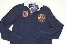 Ralph Lauren Team Olympic USA Flag Cotton Navy Rugby Shirt  England S Custom Fit