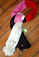 kate spade new york Hand Knit Colorblock Scarf Pink Black red white Chunky