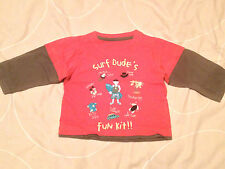 Boys 'Surf Dude's Fun Kit!' Red Long Sleeved T-Shirt by M&S - Size: 9-12 months