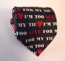 """I'M TOO SEXY FOR MY TIE - Addiction Polyester Necktie Black And Red 58"""""""