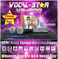 VOCAL-STAR VS-600 CDG HDMI BLUETOOTH KARAOKE MACHINE 2 WIRELESS MICS 150 SONGS