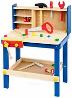 34 Piece Wooden Tool Work Bench Table & Tools Children's Kids Play Toy Xmas Gift