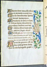 Illuminated mediev.BoH lf.9 gold initials&2 floral borders,Italy,c.1460,