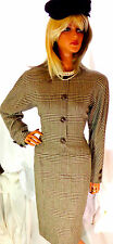Elegant CLASSIC Oscar de le Renta Vintage Dress 10 Brown Glen Plaid $2,795