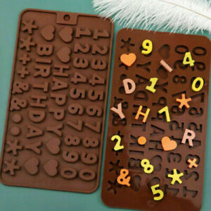 2pcs Alphabet Number Chocolate Cake Mould Fondant Silicone Biscuit Mold Birthday