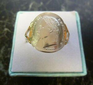 Bague pièce Argent 50 centimes Napoleon III cintrée poinconnée 925 ( T48 à 65)