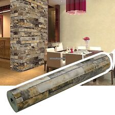 1Roll Stacked Brick Stone Faux Realistic PVC Vinyl Wallpaper Sheet