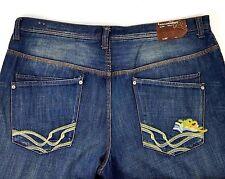 Rocawear Mens Jeans Blue Straight Leg Semi Distressed Cotton Size 42 x 34