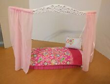 Barbie Doll Pink Bed oval with Canopy Blanket and Pillow furniture 2007