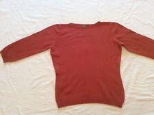 United Colors of Benetton Orange Crewneck Wool 3/4 Sleeve Sweater Sz S/M Italy