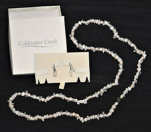 Coldwater Creek Cultured Freshwater Pearl White Gemstone Earrings & Necklace Set