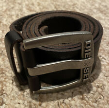 DIESEL Dark Brown Leather Belt Size 100cm