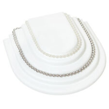 White Faux Leather Necklace Chain Jewelry Display Holder Tier Neckform Platform