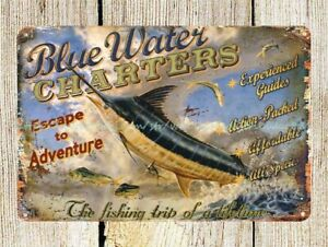 fishing trip Blue Water Charters metal tin sign retro retro signs