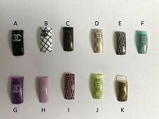 70 pcs Designer Acrylic Nail Tip Black White Gold Blue Pink Pre Designed CC